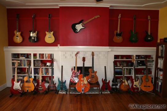 other than when i pose them for pictures at least a halfdozen of my guitars are in the next room with the computer amps effects synths etc