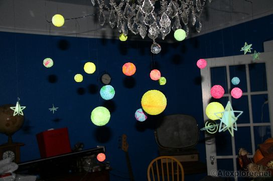 Alexplorer 39 s halloween page planetarium pool room - Hanging planets decorations ...